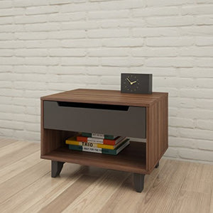 Nexera Alibi 1-Drawer Nightstand Walnut & Charcoal