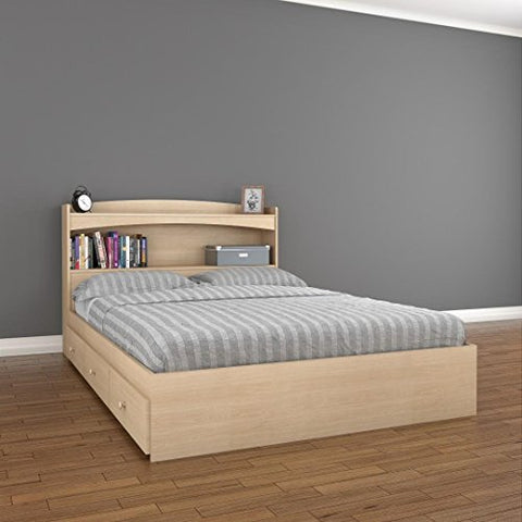 nexera alegria 3-drawer storage bed with bookcase headboard full