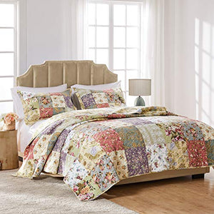 Greenland Home Blooming Prairie 100% Cotton Authentic Patchwork Quilt Set, 2-Piece Twin/Twin XL