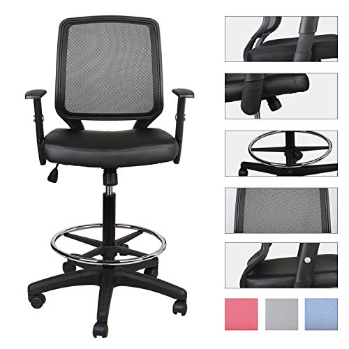 Luckwind Office Drafting Chair Leather Ergonomic Swivel Executive Ta
