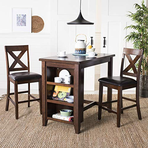 Safavieh Home Collection Everest 3 Piece Pub Set Mahogany and Black