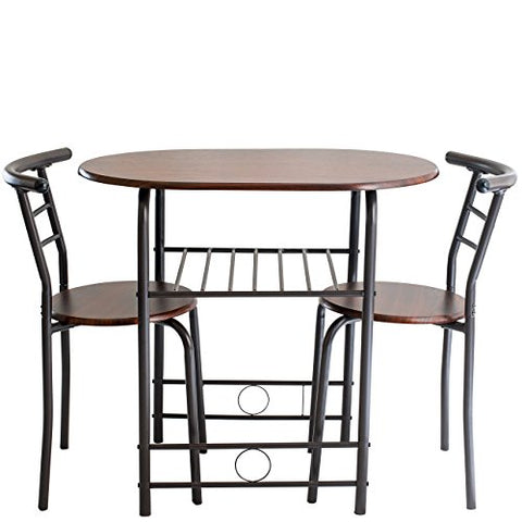 Handi-Craft 3 Piece Compact Dining Set with Table and Matching Chairs, Dark Walnut