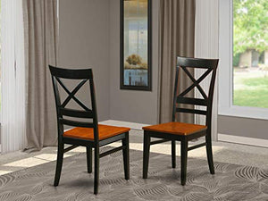 East West Furniture QUC BLK W Quincy kitchen dining chairs Wooden Seat and Black Hardwood Structure dining room chair set of 2