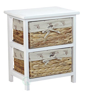 Vintiquewise(TM) Nightstand Cabinet Chest with 2 Basket Drawer