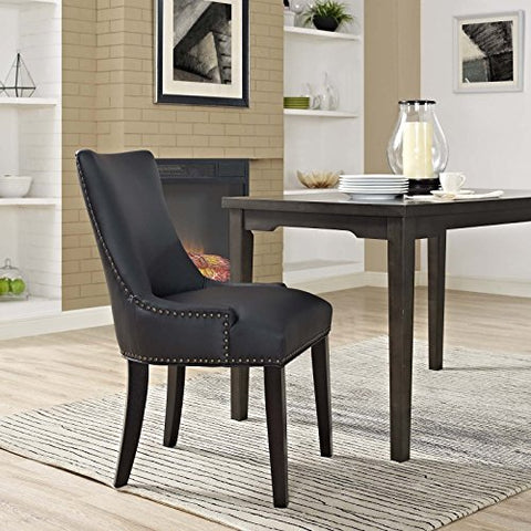 Modway MO- Marquis Modern Faux Leather Upholstered with Nailhead Trim Dining Chair Black
