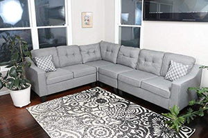 "Oliver Smith - Large Light Grey Linen Cloth Modern Contemporary Upholstered Quality Sectional Left or Right Adjustable Sectional 106"" x 82.5"" x 34"""