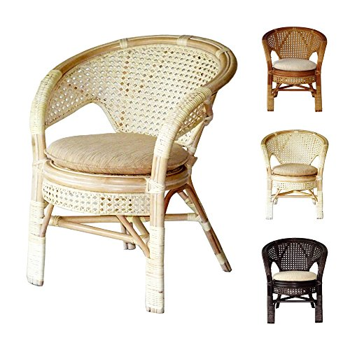 Pelangi Handmade Rattan Dining Wicker Chair W/Cushion White Wash