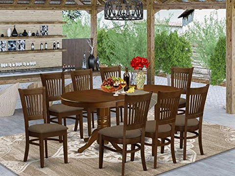 9 Pc Dining room set for 8 Dining Table with Leaf and 8 Dining Chairs