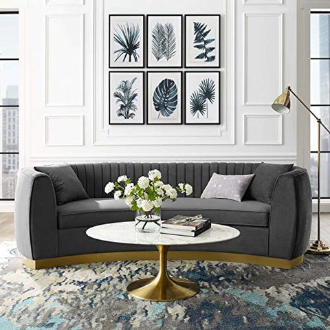 Enthusiastic Vertical Channel Tufted Curved Performance Velvet Sofa - Gray