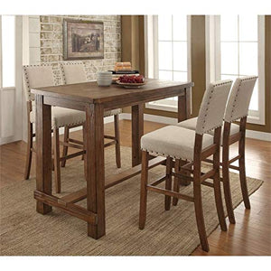 Furniture of America Sinuata Farmhouse 5-Piece Wood Pub Set in Natural Tone