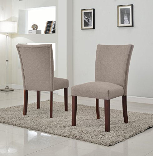 US Pride Furniture Sally Collection Classic Fabric Upholstered Dining Room Armless Accent Chair Set of 2 Brown