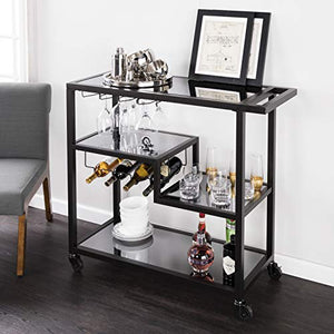 Home-Collection-Contemporary-Modern-Glam-Sleek-Black-Smoked-Glass-Metal-Mobile-Tiered-Bar-Cart-Drink-Server-Buffet-Serving-Cart