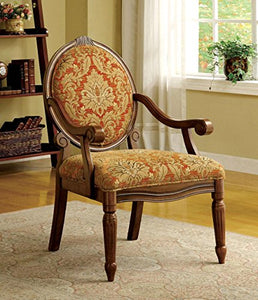 Furniture of America Hammond Accent Chair in Espresso/Antique Oak Finish CM-AC6024