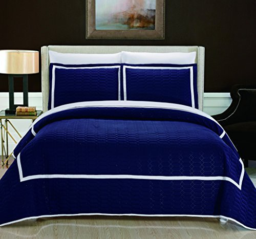 Chic-Home-2-Piece-Birmingham-Hotel-Collection-2-Tone-Banded-Quilt-Set,-Twin,-Navy