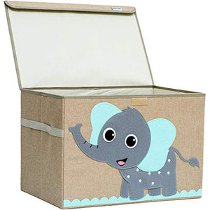 "Hurricane Munchkin Large Toy Chest. Canvas Soft Children Toy Storage Bin Organizer with Lid. Kids Toy Box for Boys, Girls, Toddler and Baby Nursery 14""x 15""x 21"" (Elephant)"