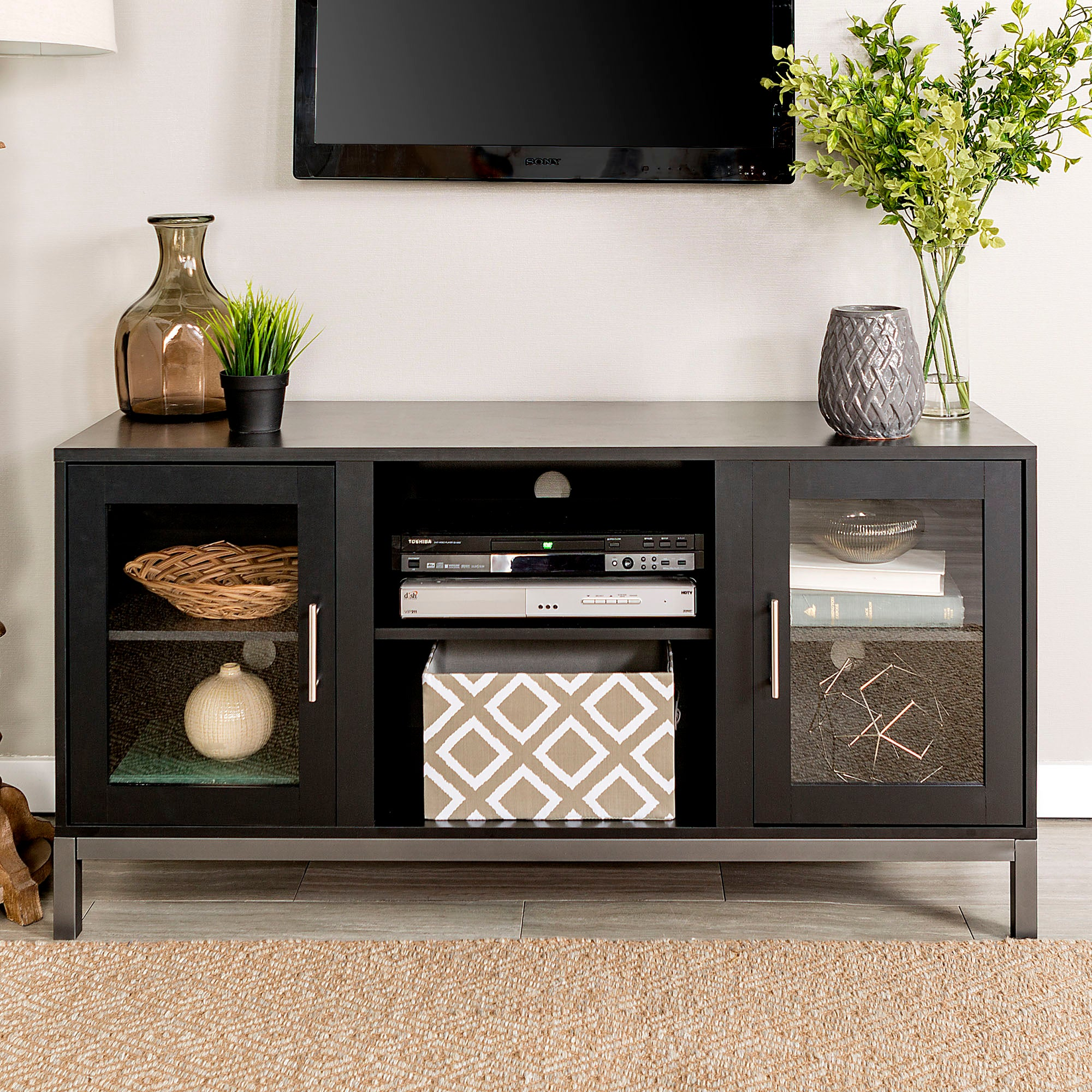 "52"" Avenue Wood TV Console with Metal Legs - Black"