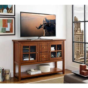 "52"" Wood Console Table Buffet TV Stand - Brown"