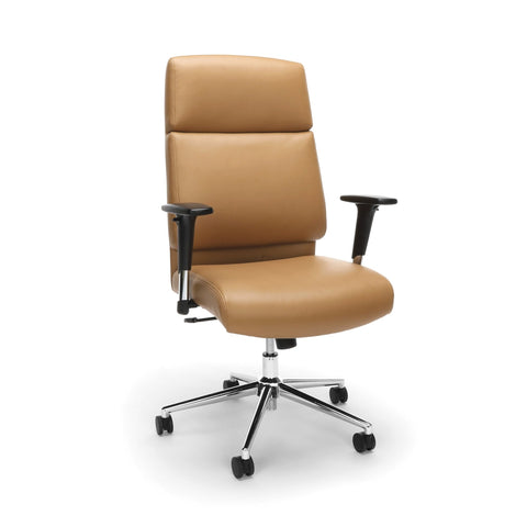 Bonded Leather Manager Chair, High Back Office Chair For Computer Desk - Camel