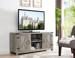 "58"" Barn Door TV Stand with Side Doors - Grey Wash"