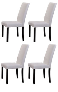 Pilaster Designs - White Parson Chair With Black Finish Solid Wood Legs, Set of 4 Chairs