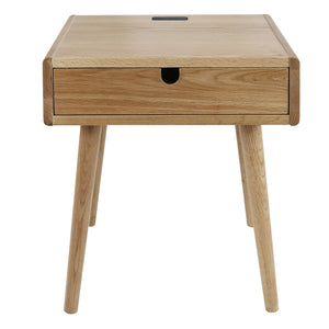 Freedom Nightstand/End Table with USB Ports Made of Solid American Oak
