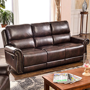 Harper & Bright Designs Sectional Recliner Sofa Set (Brown) (3-Seat Recliner)