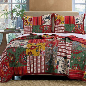Greenland Home Arcadia Quilt Set, 3-Piece Cal King, King King