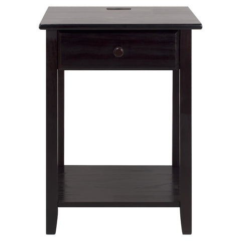 Night Owl Nightstand with USB Port-Espresso