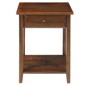 Night Owl Nightstand with USB Port-Warm Brown