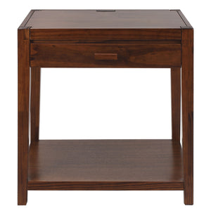 Notre Dame Nightstand with USB Port-Warm Brown