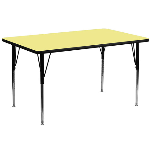 Flash Furniture 30''W x 72''L Rectangular Yellow Thermal Laminate Activity Table - Standard Height Adjustable Legs