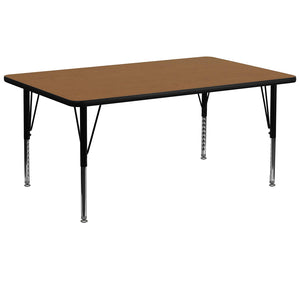 Flash Furniture 30''W x 72''L Rectangular Oak Thermal Laminate Activity Table - Height Adjustable Short Legs