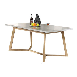 Acme Furniture 72010 Rosetta Dining Table, Light Gray & Antique Beige