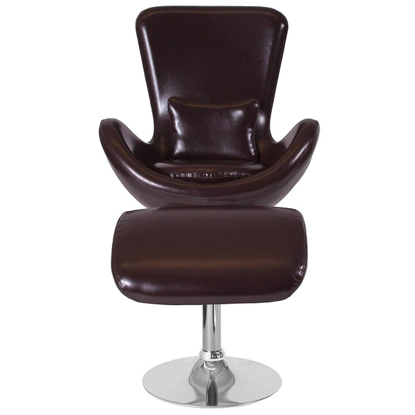 Egg Series Brown Leather Side Reception Chair with Ottoman
