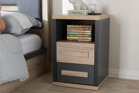 Baxton Studio Pandora Modern and Contemporary Dark Grey and Light Brown Two-Tone 2-Drawer Nightstand