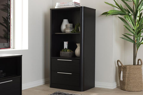 Baxton Studio Carlingford Modern and Contemporary Espresso Brown Finished Wood 2-Drawer Bookcase