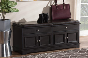 Baxton Studio Mason Modern and Contemporary Dark Brown Wood 2-Drawer Shoe Storage Bench