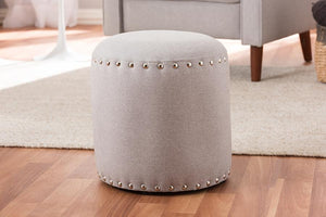 Baxton Studio Rosine Modern and Contemporary Light Grey Fabric Upholstered Nail Trim Ottoman