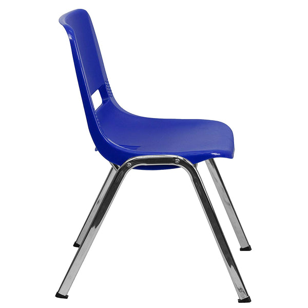 Flash Furniture Ergonomic Shell Stack Chair with Chrome Frame and 18'' Seat Height: Hercules Series, Navy, 880 lb. Capacity