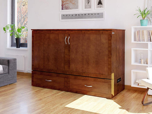 Hamilton Murphy Bed Chest Queen Walnut with Charging Station