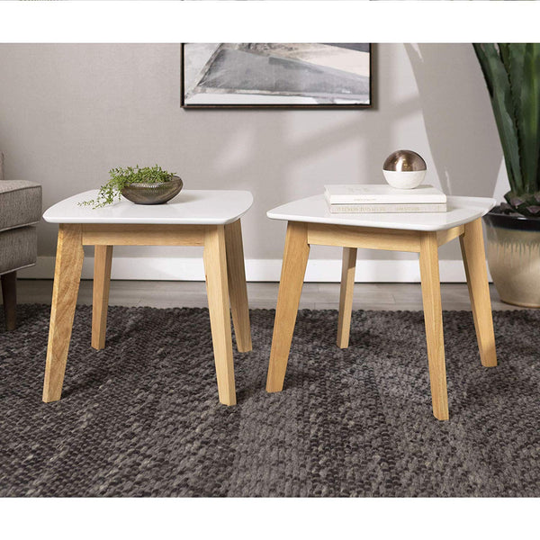 Retro Modern End Table, Set of 2 - White/Natural
