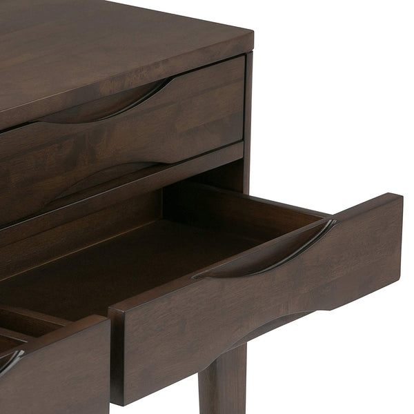 Harper Solid Hardwood Hallway Console Table in Walnut Brown
