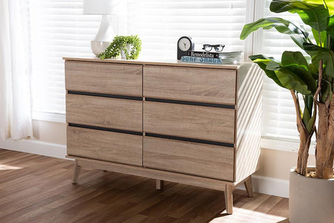 Baxton Studio Miren Mid-Century Modern Light Oak and Dark Grey 6-Drawer Dresser
