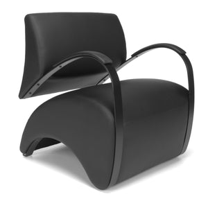 Lounge Chair W/ Black Pu Back & Seat