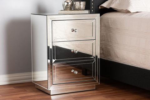 Baxton Studio Lina Modern and Contemporary Hollywood Regency Glamour Style Mirrored Three Drawer Nightstand Bedside Table