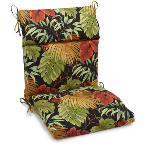 20-inch by 42-inch Spun Polyester Outdoor Squared Seat/Back Chair Cushion - Tropique Raven