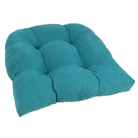 19-inch U-Shaped Micro Suede Tufted Dining Chair Cushion - Aqua Blue