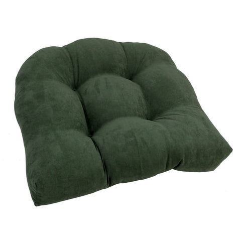 19-inch U-Shaped Micro Suede Tufted Dining Chair Cushion - Hunter Green