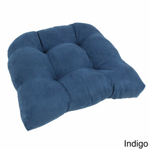 19-inch U-Shaped Micro Suede Tufted Dining Chair Cushion - Indigo