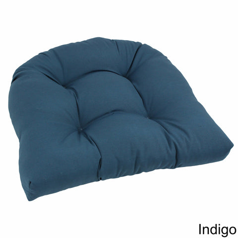 19-inch U-Shaped Twill Tufted Dining Chair Cushion - Indigo